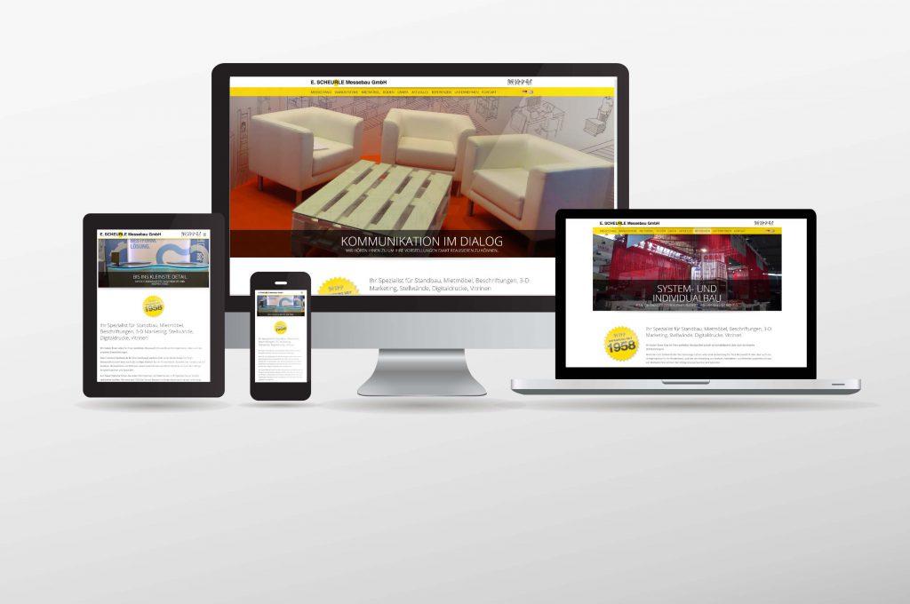 responsives Webdesign dargestellt an unterschiedlichen Endgeräten